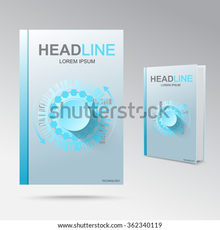Futuristic combination lock, the theme for the front of the booklet. Book layout. - stock vector