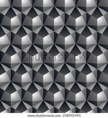 Futuristic continuous black and white pattern, illusive motif abstract background with 3d geometric figures. Monochrome decorative seamless backdrop, can be used for design and textile. - stock vector