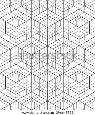Futuristic continuous black and white pattern, illusive motif abstract background with geometric figures. Monochrome decorative seamless backdrop, can be used for design and textile. - stock vector