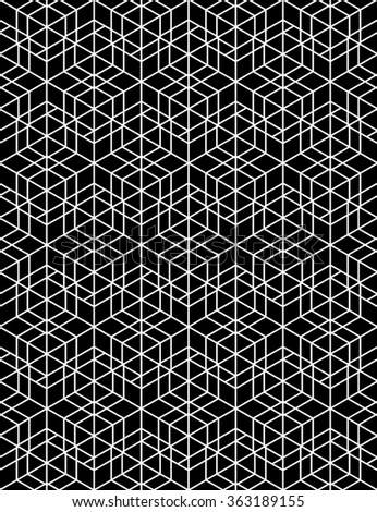 Futuristic continuous contrast pattern, illusive motif abstract background with geometric figures. Monochrome decorative seamless backdrop, can be used for design and textile.