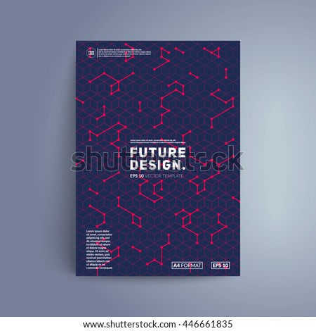 Futuristic cover design. Colorful isometric shapes on dark background. Eps10 vector template for business card,poster,flyer etc. - stock vector