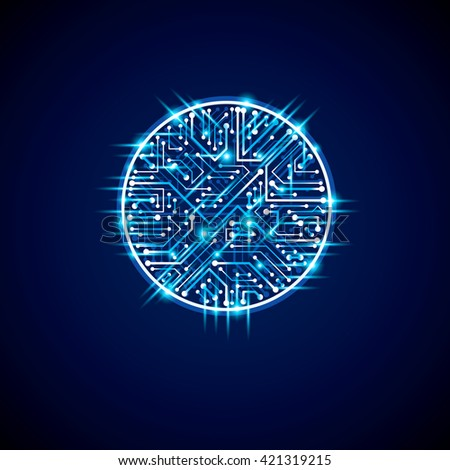 Futuristic cybernetic scheme, vector motherboard blue illustration with neon lights. Circular gleam element with circuit board texture.