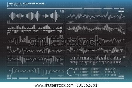 futuristic equalizer waves for the HUD interfaces - stock vector