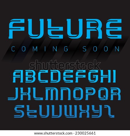 Futuristic font, inverse version. Latin alphabet letters. Vector typography template with abstract background. - stock vector
