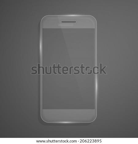 Futuristic glass smartphone. Vector illustration. - stock vector