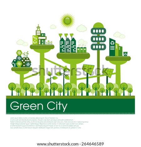 Futuristic green eco city living concept. - stock vector