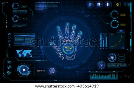 futuristic hand scan identify with hud  element interface screen monitor design background template - stock vector