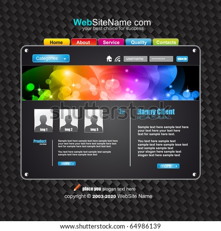 Futuristic High Tech Website Template with Attrative colours - stock vector