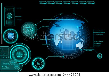 Futuristic HUD interface elements with blue world.vector - stock vector