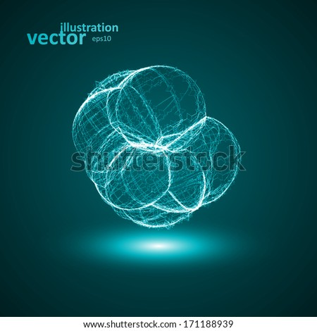 Futuristic illustration - conceptual virus, abstract shape eps10 - stock vector