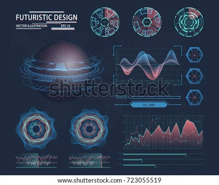 Futuristic infographic with globe or orb and linear graph, lines for sound waves and circles showing loading status. Technology interface design for visualization. Sci-fi and science, analysis theme