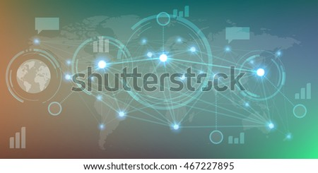 Futuristic infographics with elements of user interface HUD on dark background. Vector illustration.
