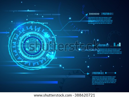 Futuristic interface, HUD,  Abstract futuristic circuit board, hi-tech computer digital technology concept, vector background. - stock vector