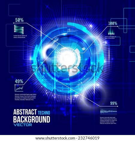 Futuristic interface, HUD,  techno circle,vector background - stock vector