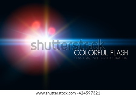 Futuristic Light Effect. Colorful Lens Flare. Star, Explosion and Electric Power Design. Vector illustration - stock vector