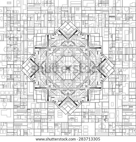 Futuristic Megalopolis City Basis Plan Vector 11 - stock vector