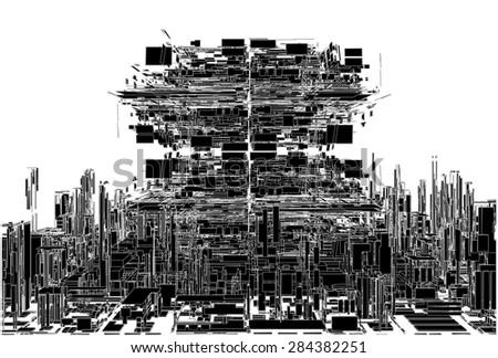 Futuristic Megalopolis City Of Skyscrapers Vector - stock vector