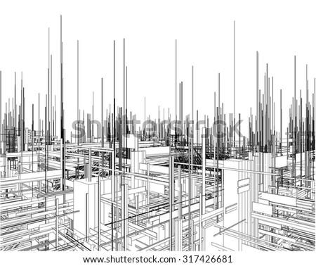 Futuristic Megalopolis City Of Skyscrapers Vector 20 - stock vector