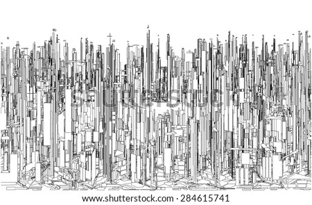 Futuristic Megalopolis City Of Skyscrapers Vector. Landscape View.  - stock vector