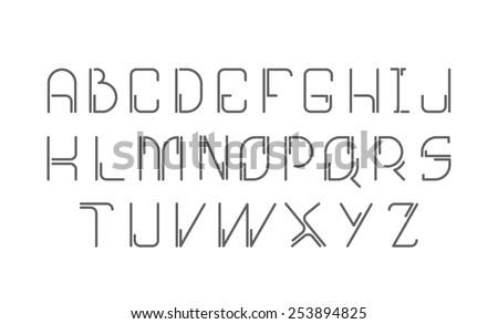 Futuristic, minimalist font - stock vector