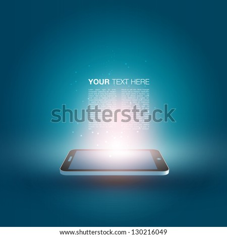 Futuristic Mobile Phone Vector Illustration with Text | EPS10 Design - stock vector
