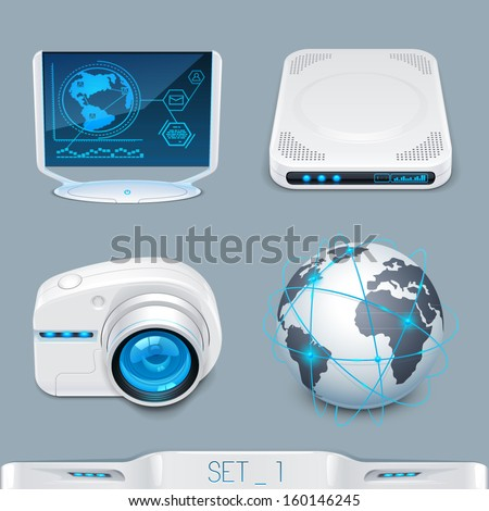 futuristic multimedia devices and technology icon-set 1 - stock vector