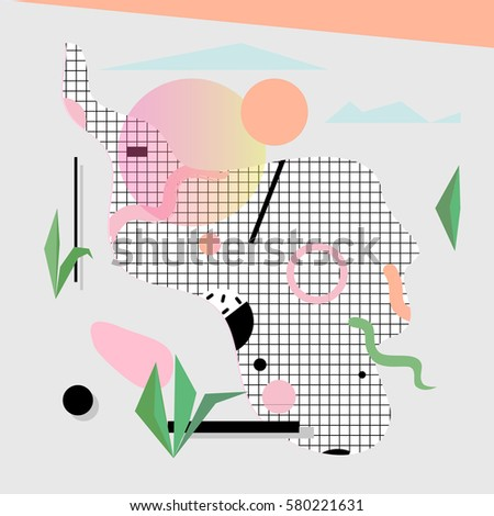 futuristic print sunset leaves memphis design stock vector royalty