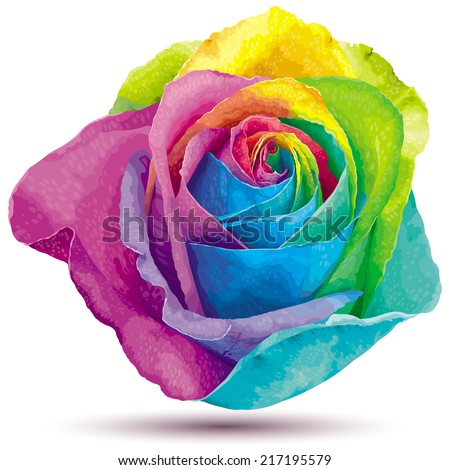 Futuristic rose colored in the spectrum colors - stock vector