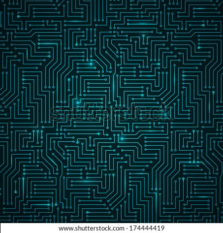 Futuristic Shining Dark Blue Technology Background �¢?? Printed Circuit Board Seamless with Pattern in Swatches - stock vector
