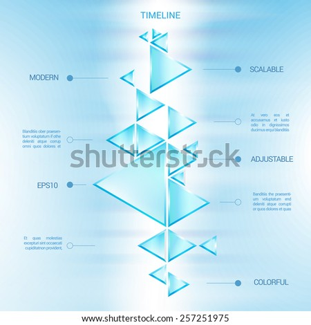 Futuristic Shiny Glass Pyramid Shapes Time Line Composition for Technology, Education, or Business Presentation  - stock vector
