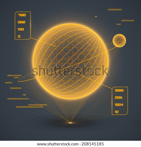 Futuristic touch user interface projection. Abstract astronomy concept. Glowing geometric computer game dashboard. Vector illustration. - stock vector