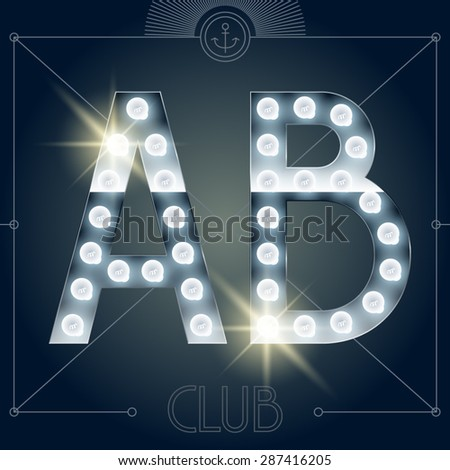 Futuristic vector lamp alphabet on glossy mirror background. Letters A B - stock vector