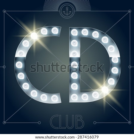 Futuristic vector lamp alphabet on glossy mirror background. Letters C D - stock vector