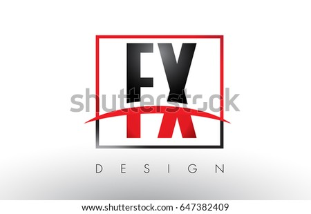 FX F X Logo Letters with Red and Black Colors and Swoosh. Creative Letter Design Vector.