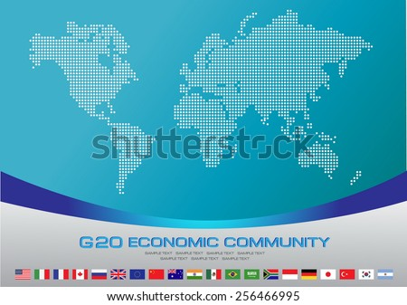 G20 countries flags or flags of the world (economic G20 countries flag) illustration - stock vector