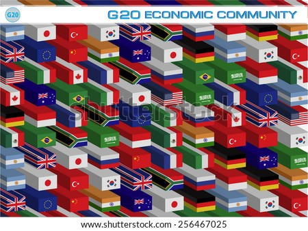 G20 countries flags or flags of the world (economic G20 countries flag) illustration