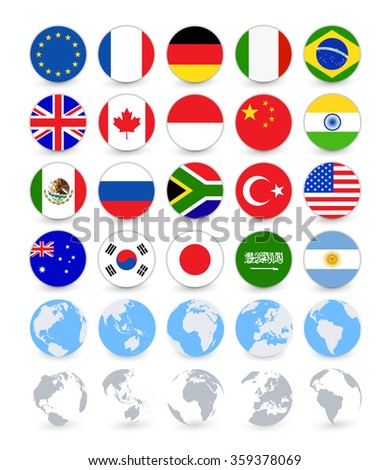 G20 country flags flat web buttons with globes. Vector flag set. - stock vector