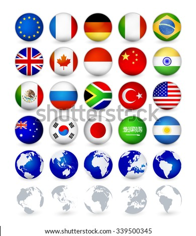 G20 country flags web buttons with globes.Badge Magnet flags vector illustration. - stock vector