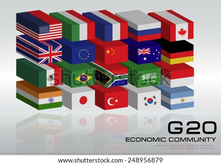 G20 country flags with 3D style or flags of the world (economic G20 country flag) illustration - stock vector