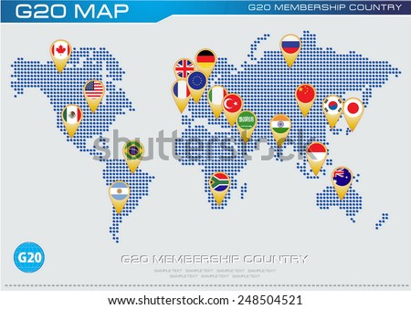 G20 country flags with worldmap or flags of G20 membership (economic G20 country flag) illustration - stock vector