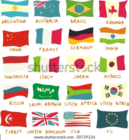 g20 flags drawn in a childish manner - stock vector
