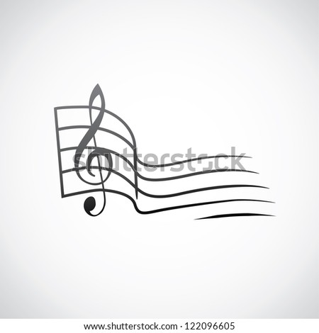 g key and empty one tact symbol - illustration - stock vector