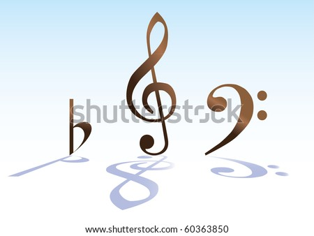 G-KEY BASS KEY AND B - ILLUSTRATION - stock vector