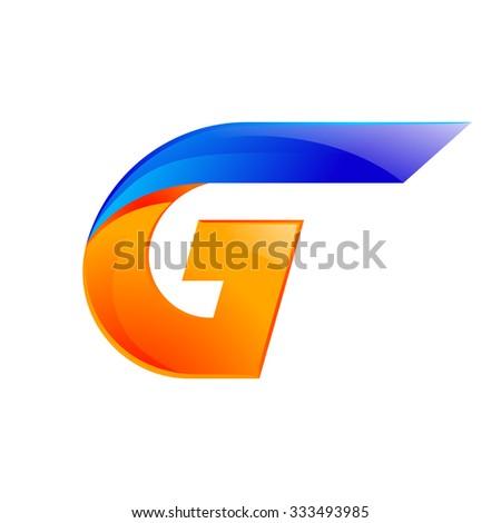 G letter blue and Orange logo design Fast speed design template elements for application. - stock vector
