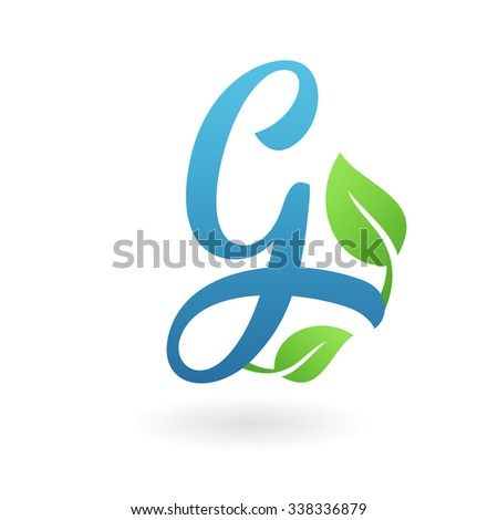 G letter business logo design template. Abstract calligraphic text vector elements for corporate identity emblem, label or icon of eco friendly company - stock vector