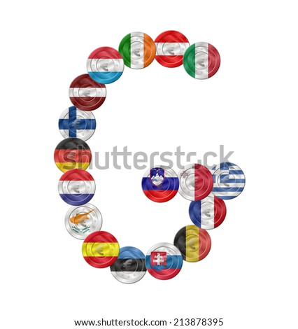 g letter design created with euro coin with flags  - stock vector