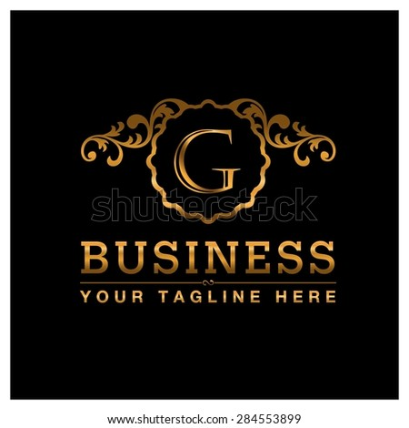 G letter Gold Luxury Logo template flourishes calligraphic elegant ornament lines. Business sign identity for Restaurant, Royalty, Cafe, Hotel, Heraldic, Jewelry, Fashion and other vector illustration