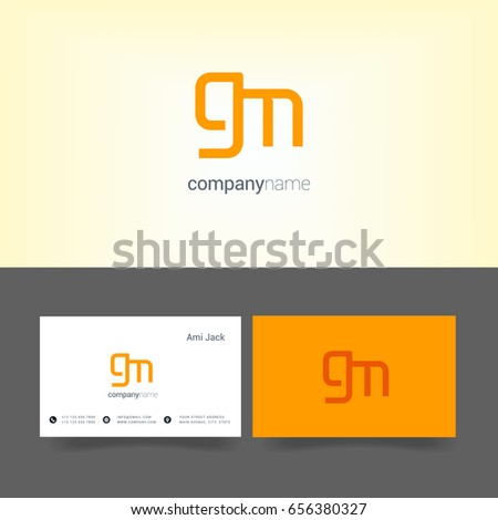 G m joint logo letter symbol stock vector 656380327 shutterstock g m joint logo letter symbol with business card template colourmoves