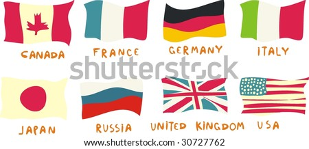 g8 members flags drawn in a childish manner - stock vector