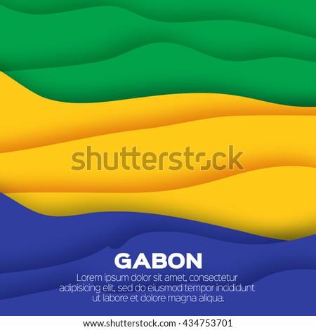Gabon flag. Origami paper cut vector illustration - stock vector